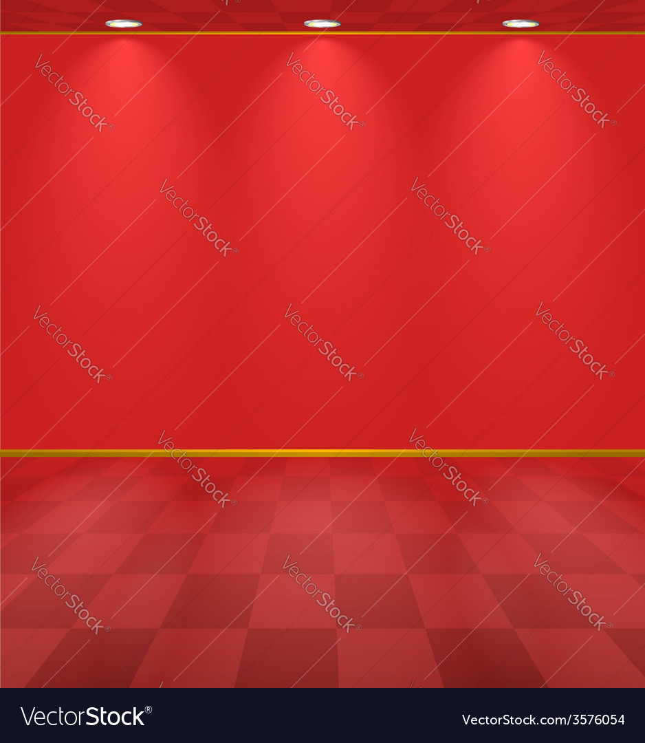 Red lightened room vector