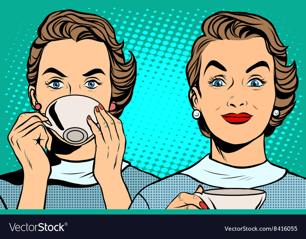 Girl with a cup of tea or coffee vector