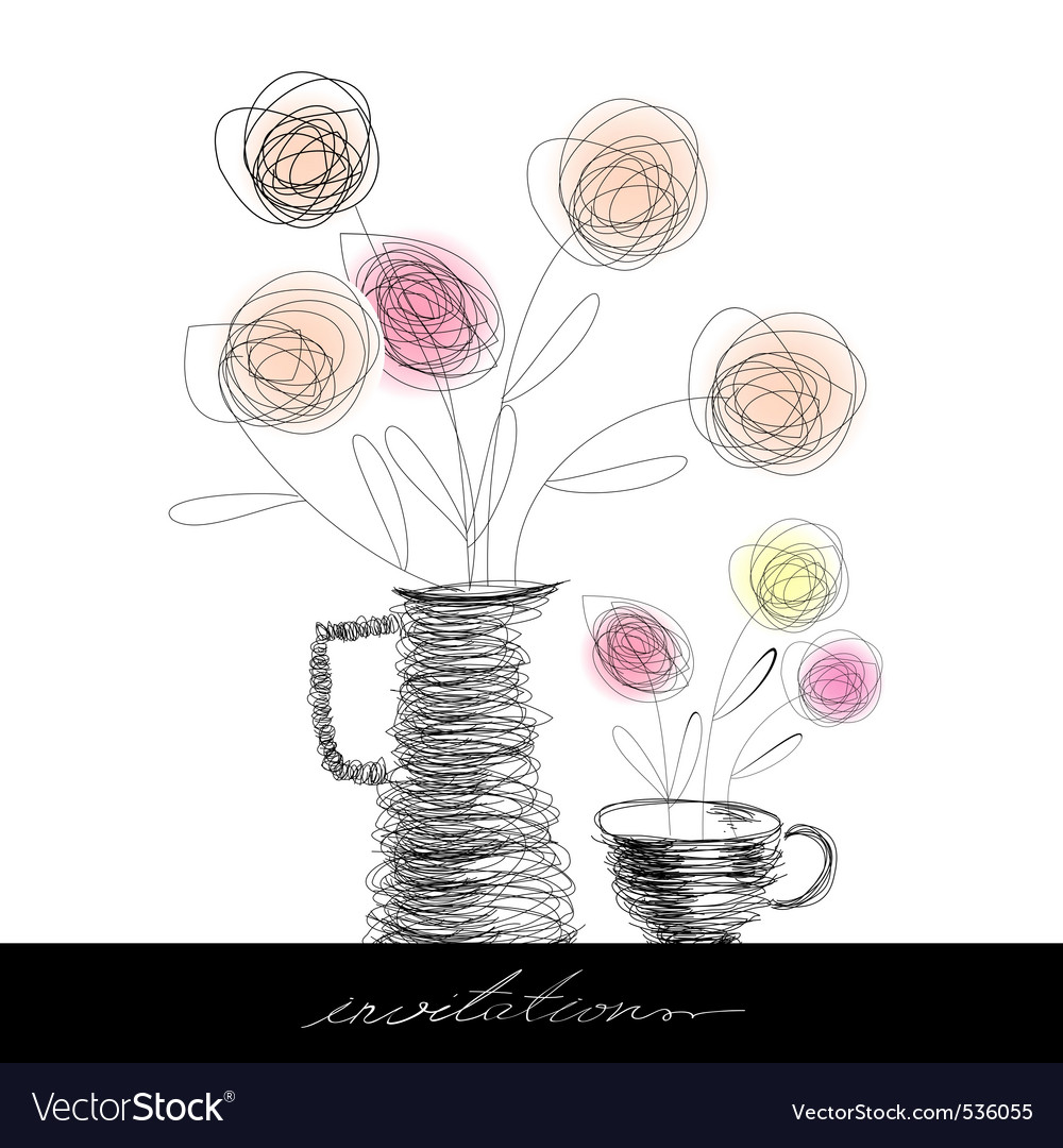 Tea cup and teapot with flowers vector
