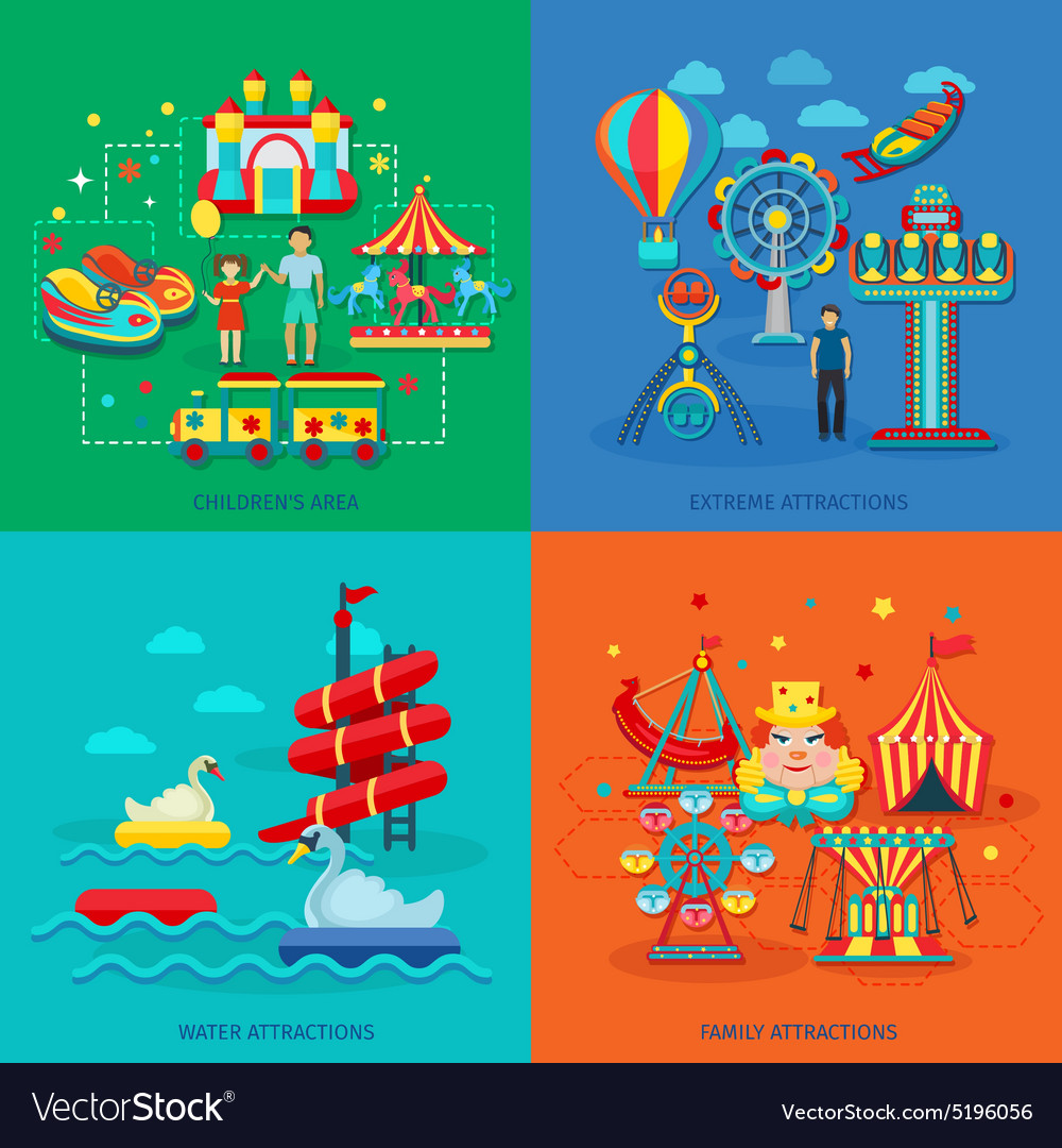 Amusement park flat vector