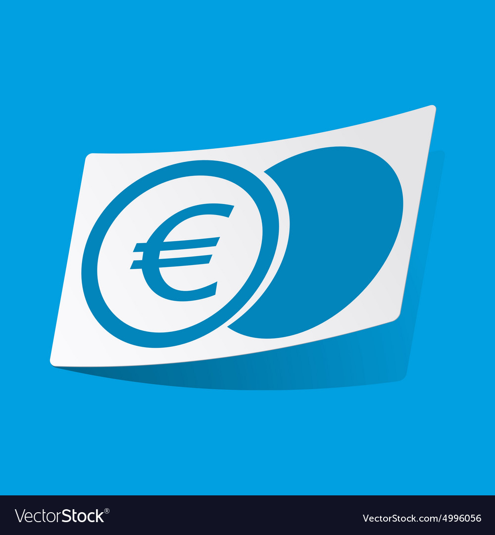 Euro coin sticker vector