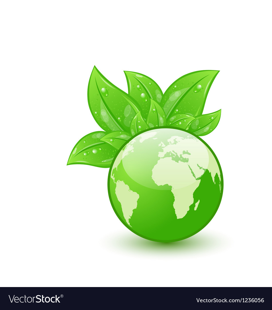 Global planet and eco green leaves isolated on vector