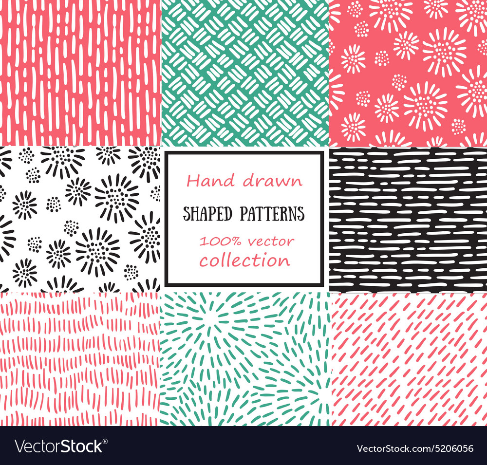 Set of seamless stroke patterns handdrawn vector