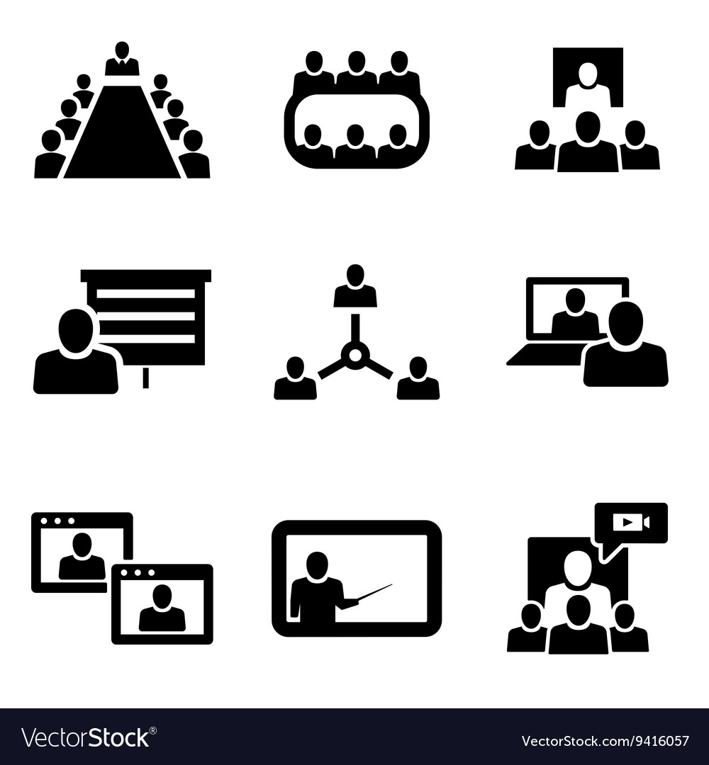 Conference icons set business vector