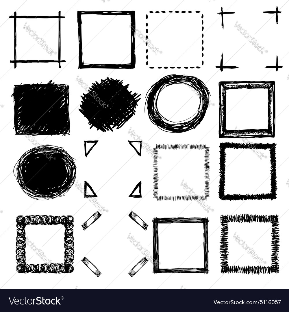 Handdrawn scribble frames and corners vector