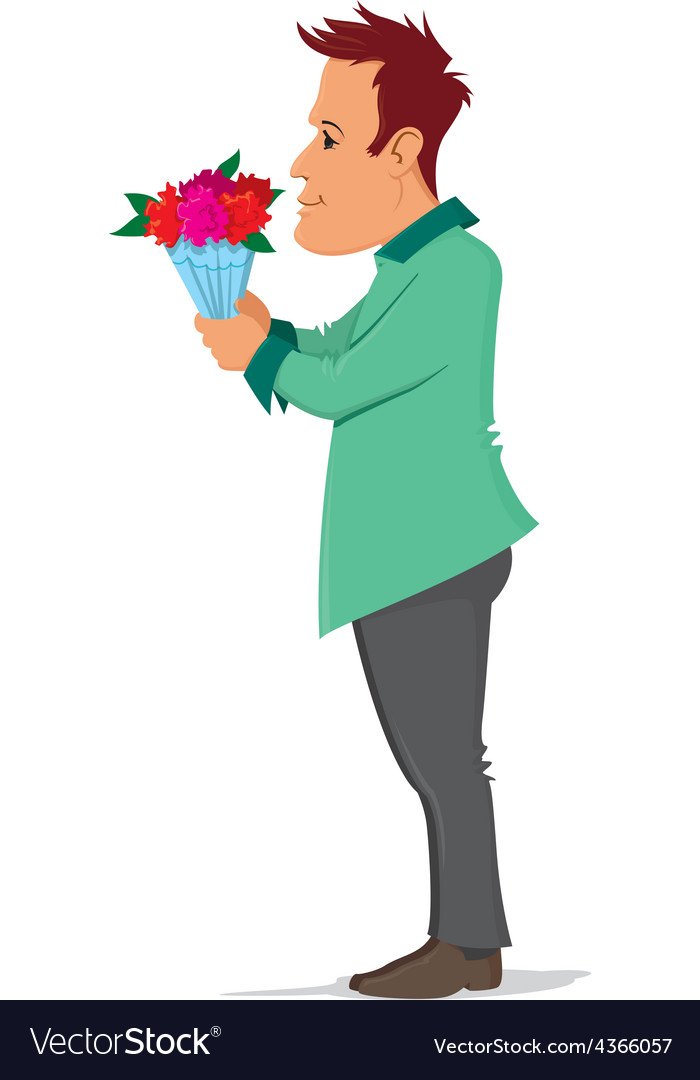 Man holding bouquet vector