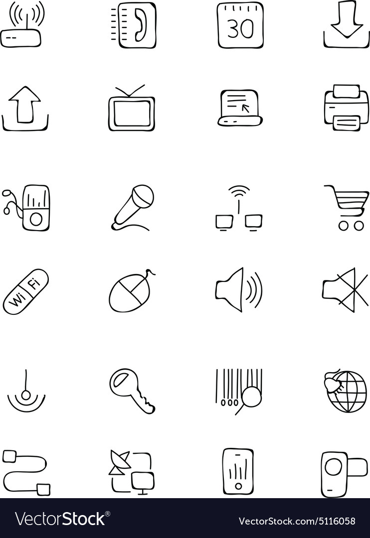 Communication hand drawn icons 2 vector