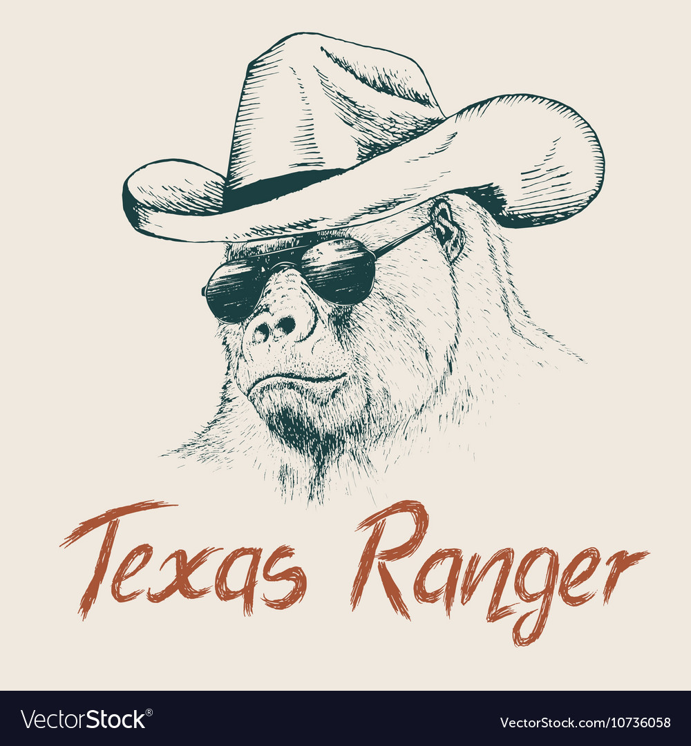 Gorilla like a texas ranger vector