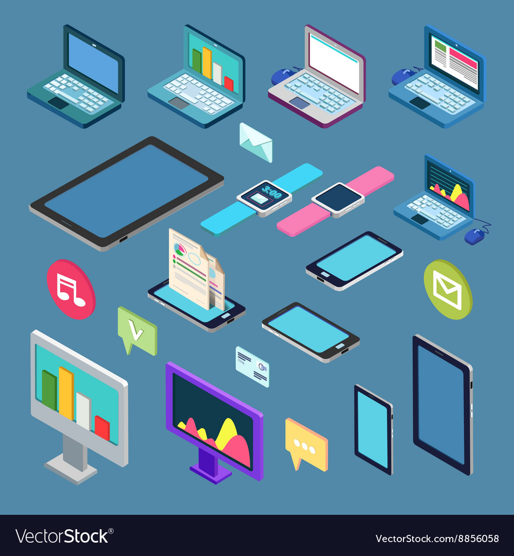Isometric technology electronic device set vector