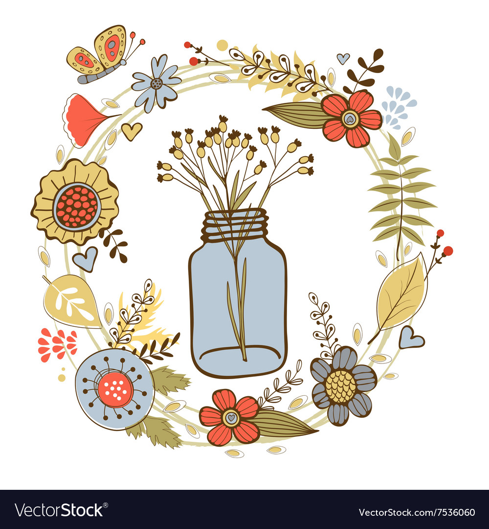 Colorful card with flowers in a jar and floral vector