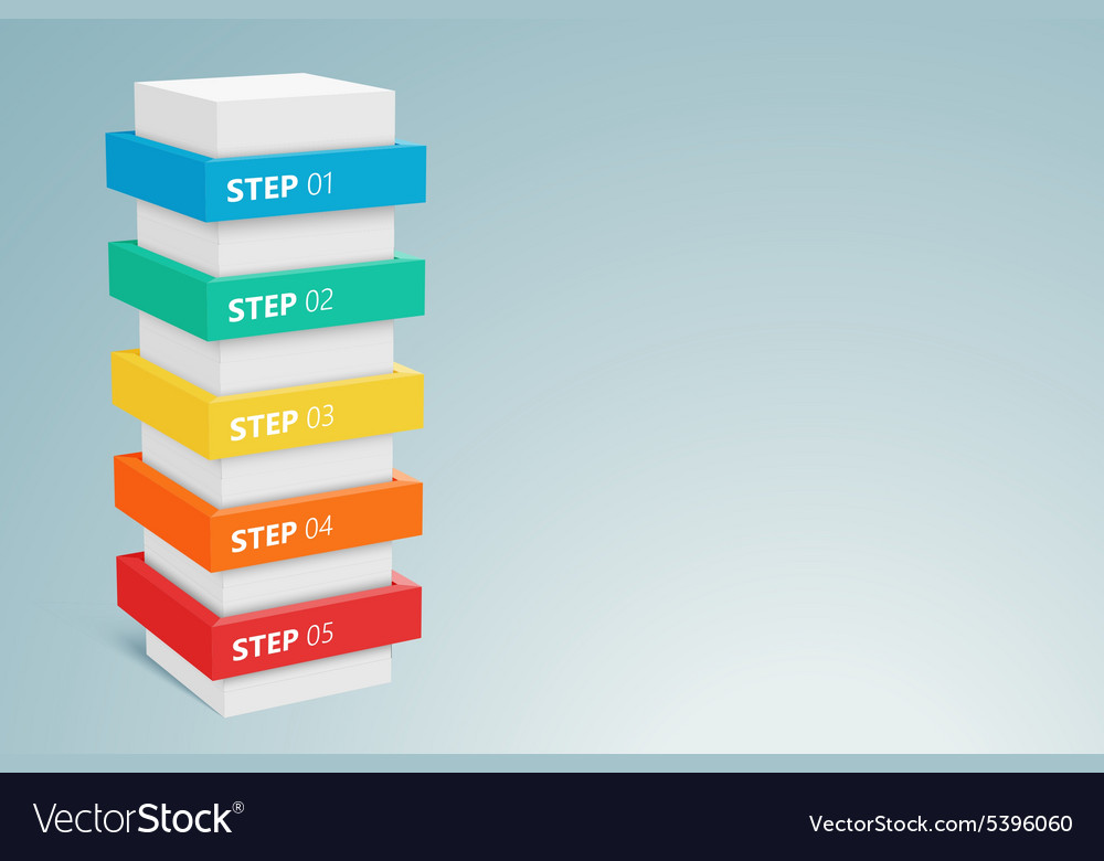 Infographic column with 5 steps 1 vector