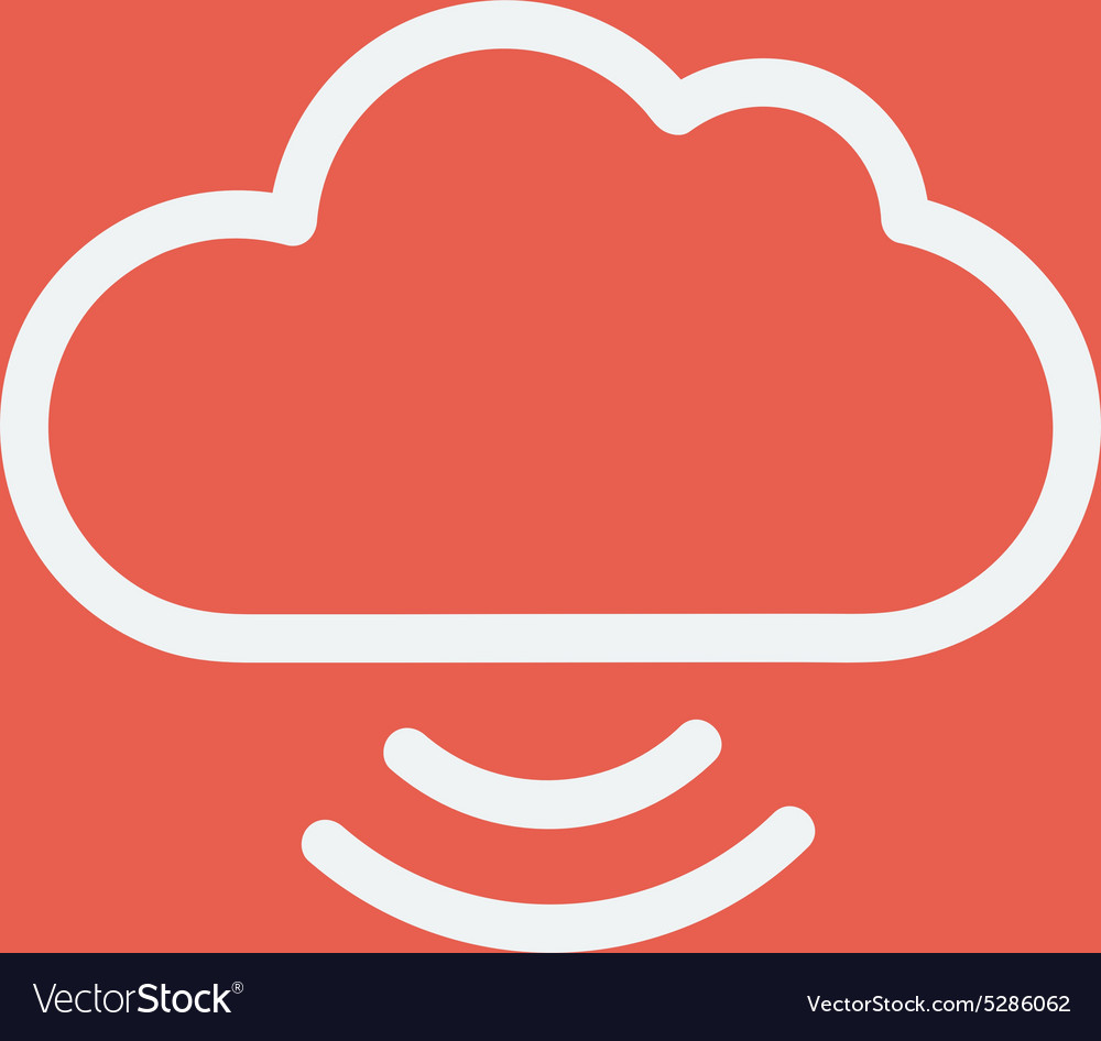 Cloud with wifi symbol thin line icon vector