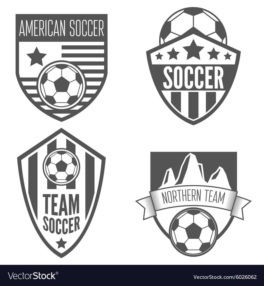 Set of vintage soccer football labels emblem and vector