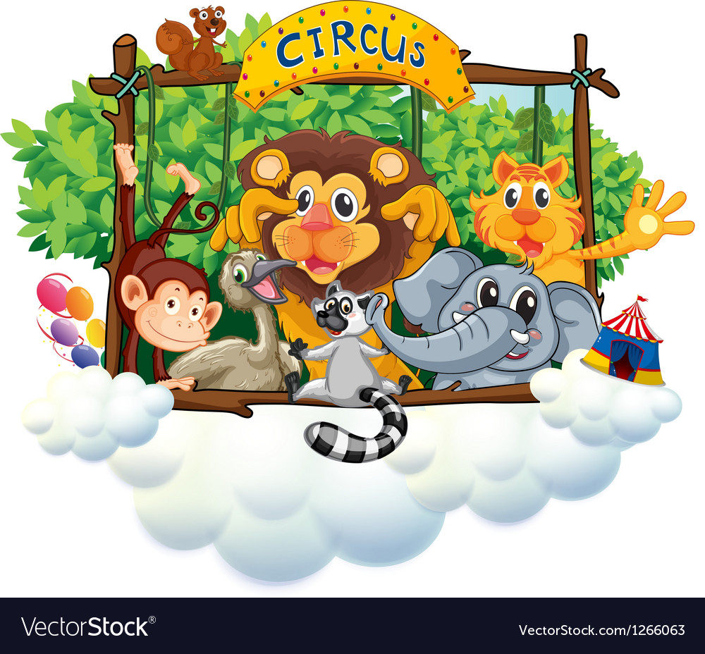 Different animals at the circus vector