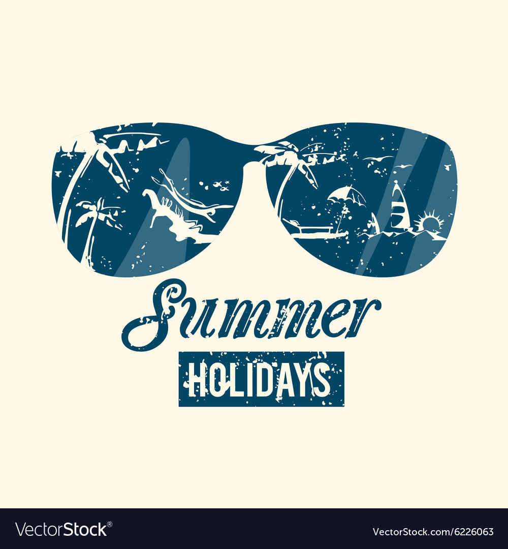 Summer emblem with grunge texture vector