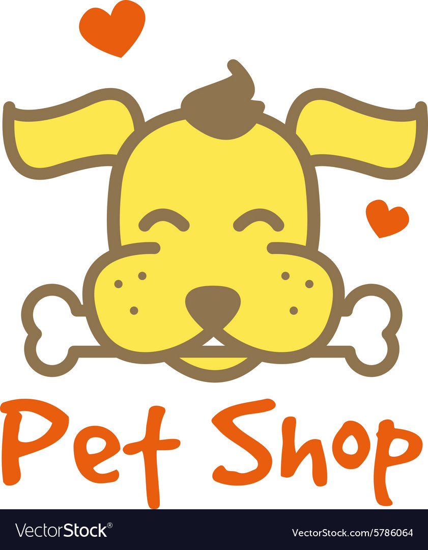 Cartoon yellow dog with bone logotype pet vector