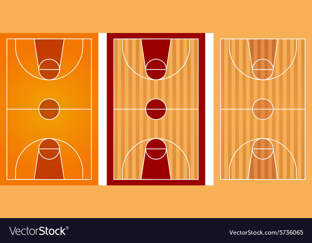 Basketball courts with different floor design vector