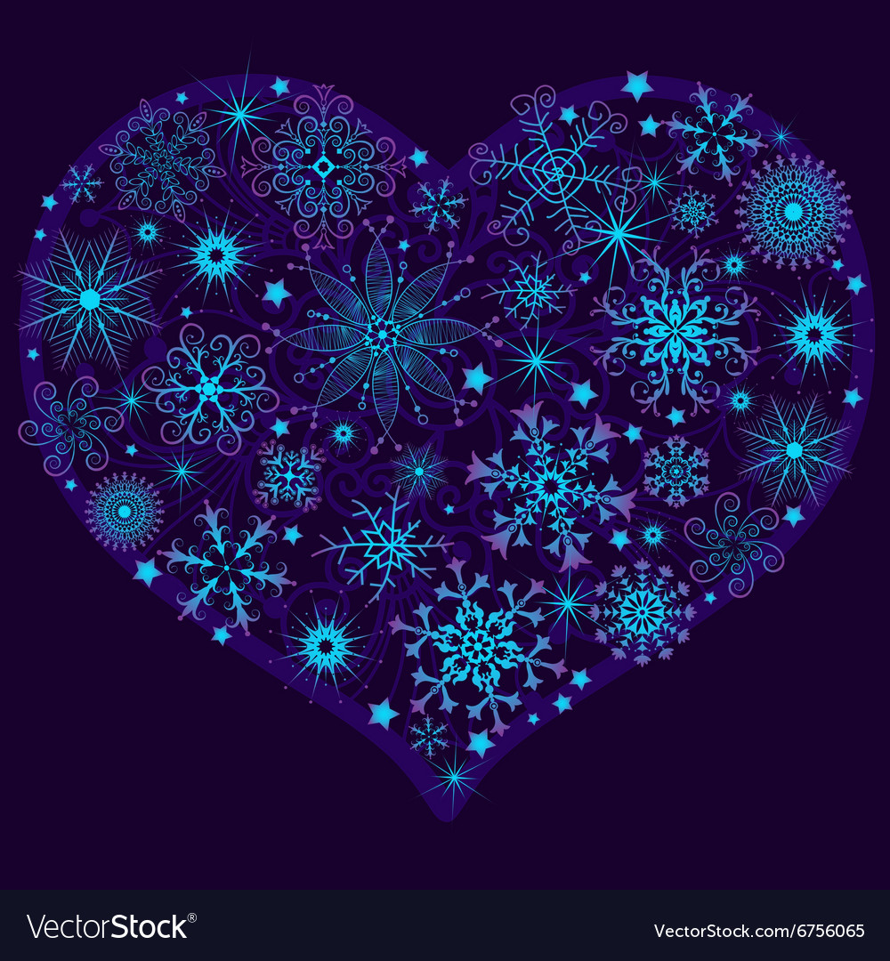 Christmas snow heart with glowing snowflakes vector