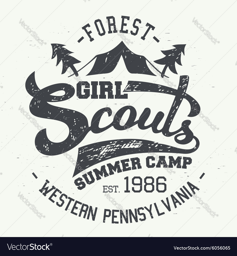 Girl scouts summer camp tshirt typographic design vector