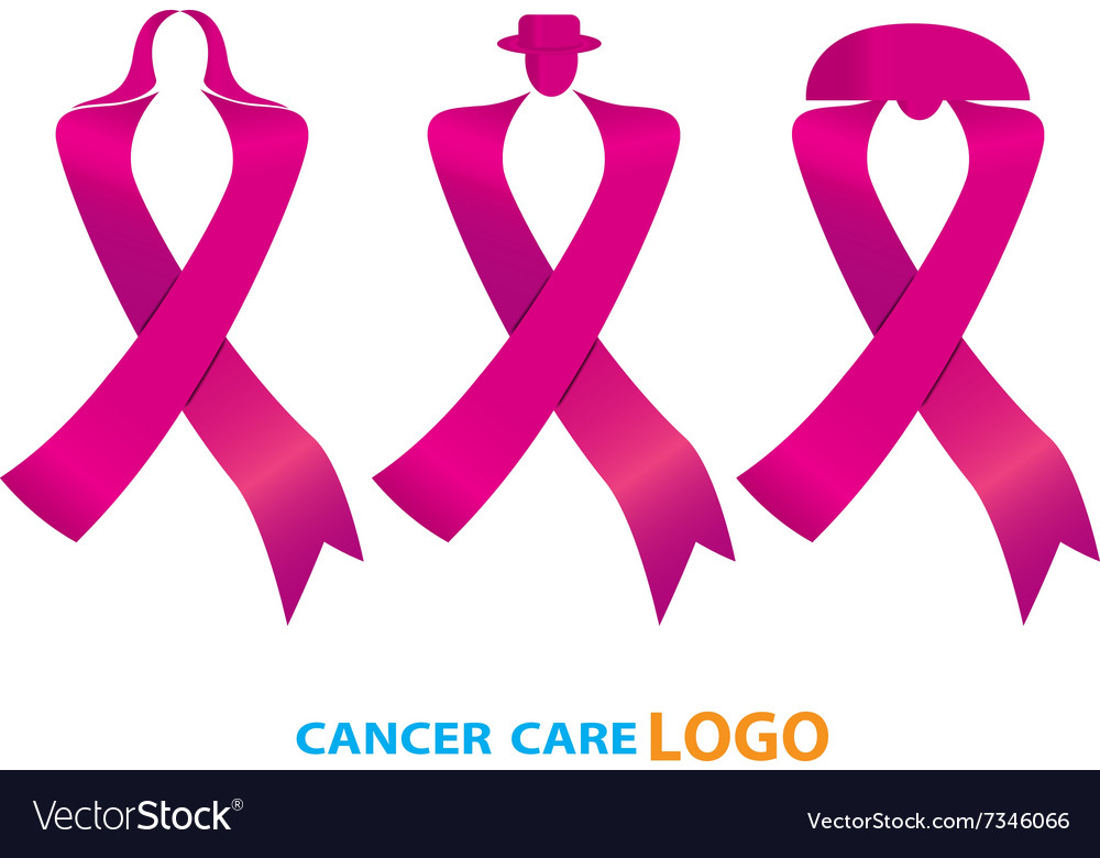 Cancer ribbon awareness symbol isolated vector