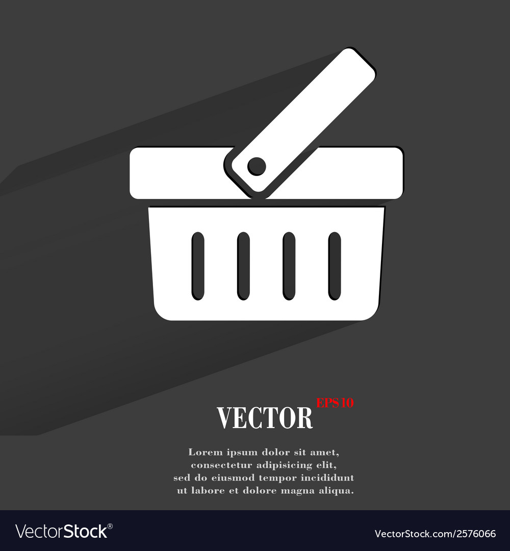 Shopping basket flat modern web button with long vector
