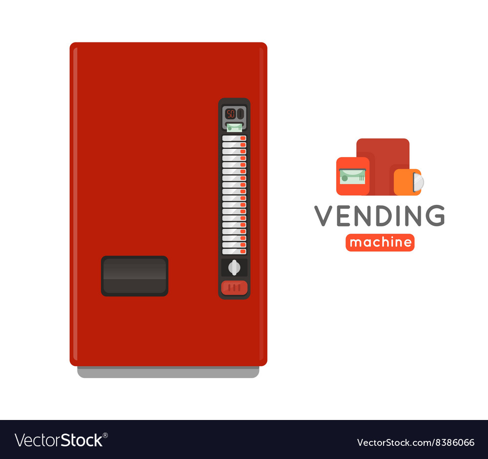 Vending machine set sell snacks and soda drinks vector