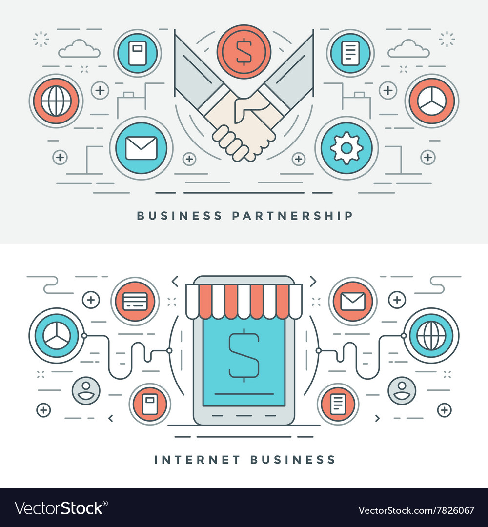 Flat line business partnership and internet vector
