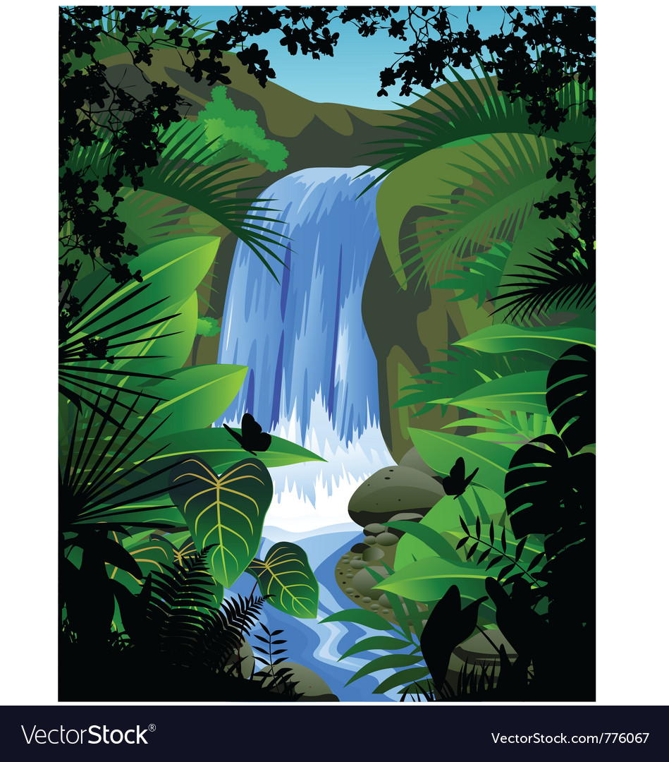 Tropical forest background with waterfall vector