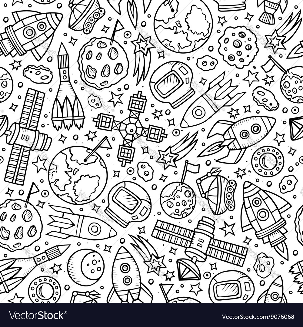 Cartoon handdrawn space planets seamless pattern vector