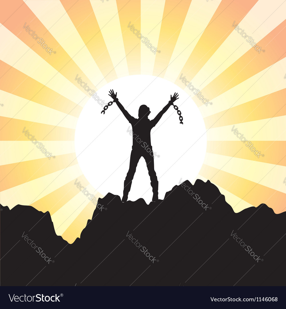 Girl with raised hands vector