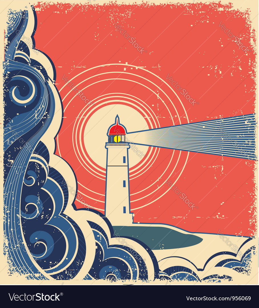 Sea waves with lighthouse on abstract grunge image vector