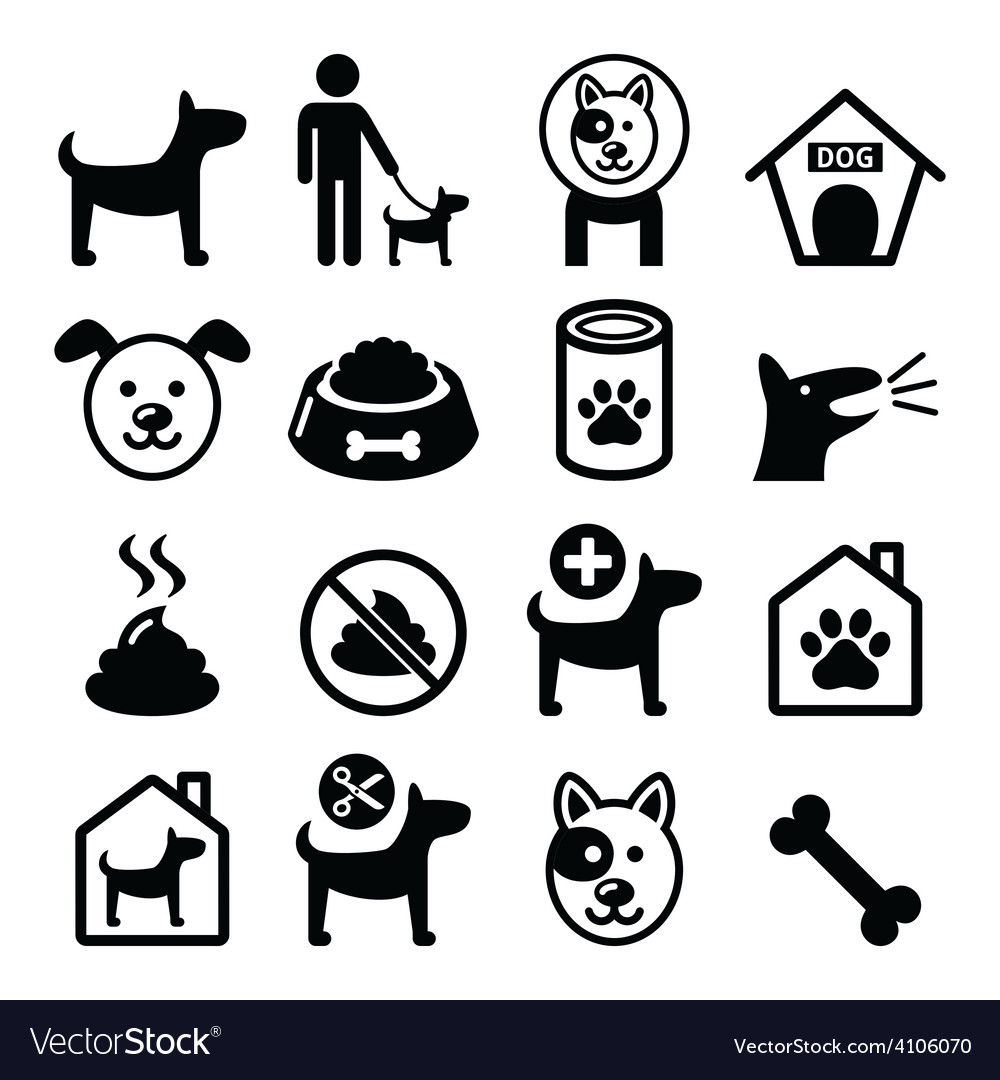 Dog pet icons set  vet dogs food dog hotel vector