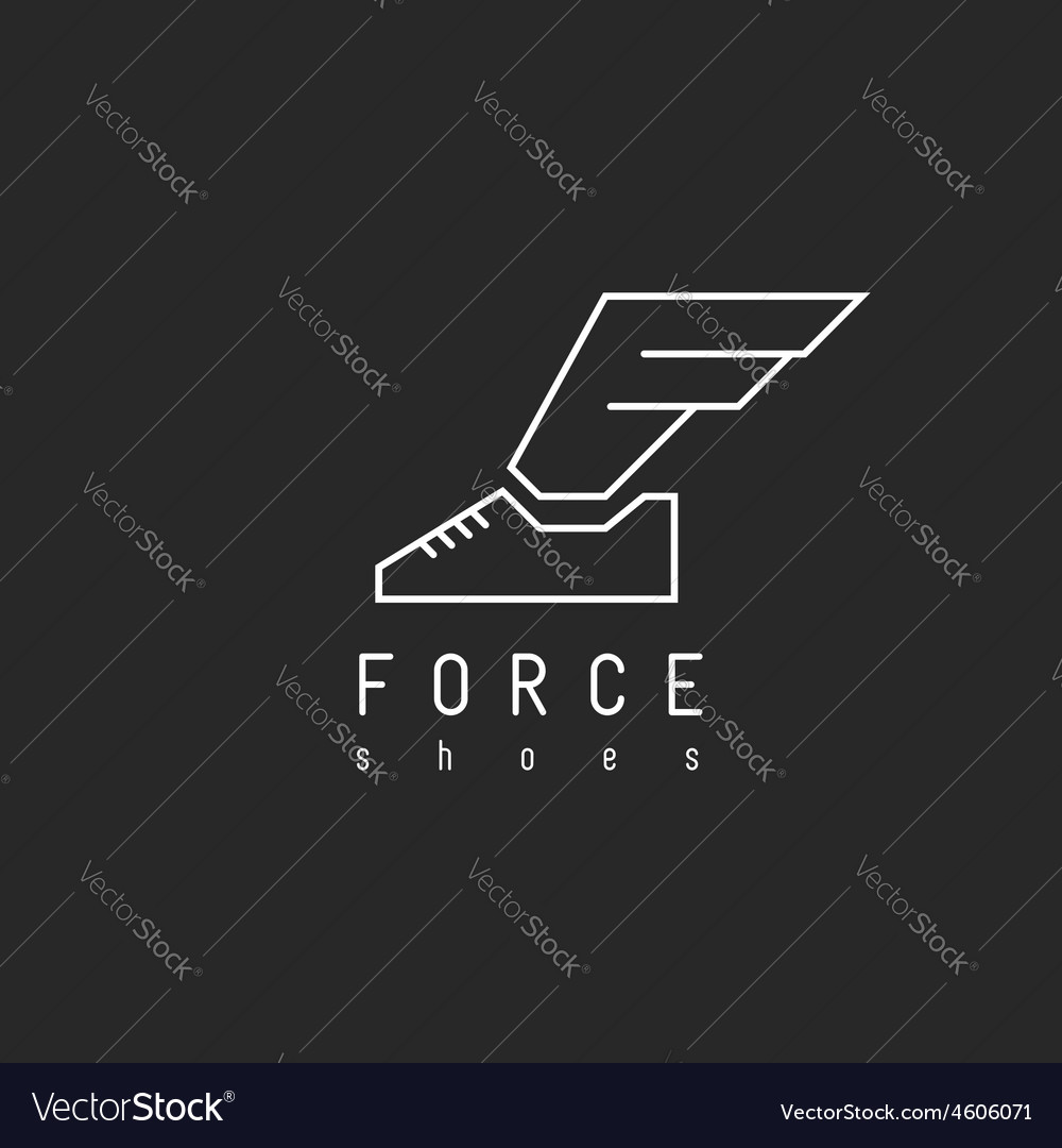 Shoes logo with wing in view letter f mockup vector