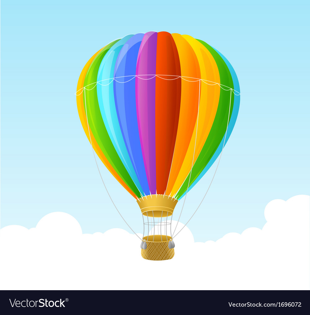Rainbow air ballon background vector