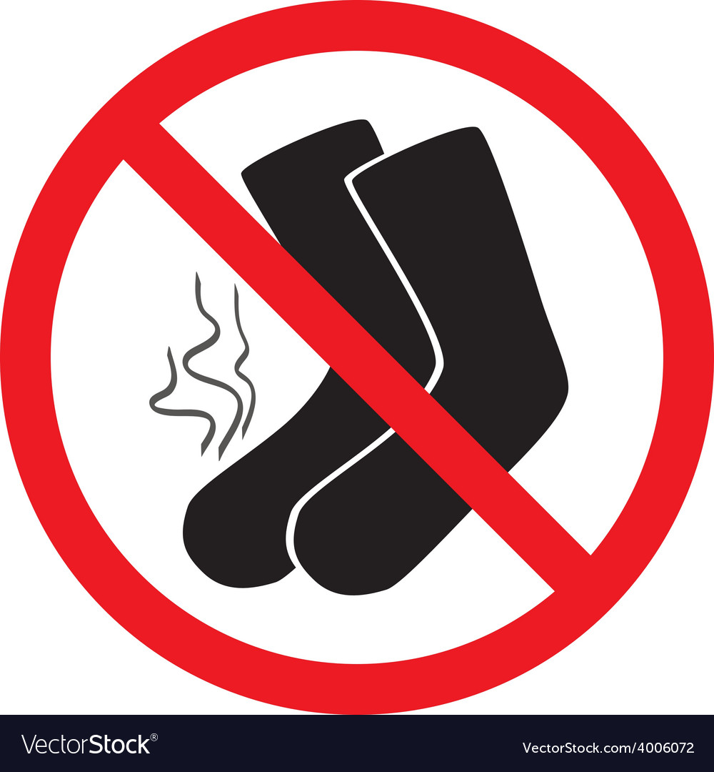 Sign ban smelly socks vector