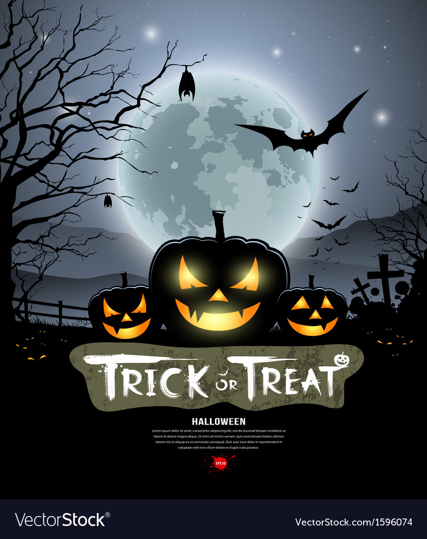 Halloween trick or treat pumpkin vector