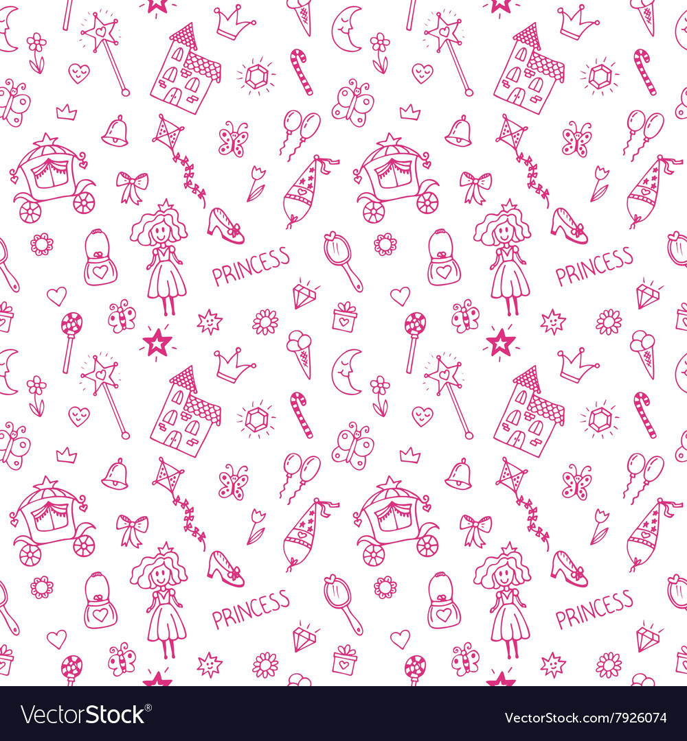Hand drawn seamless pattern with princess doodle vector