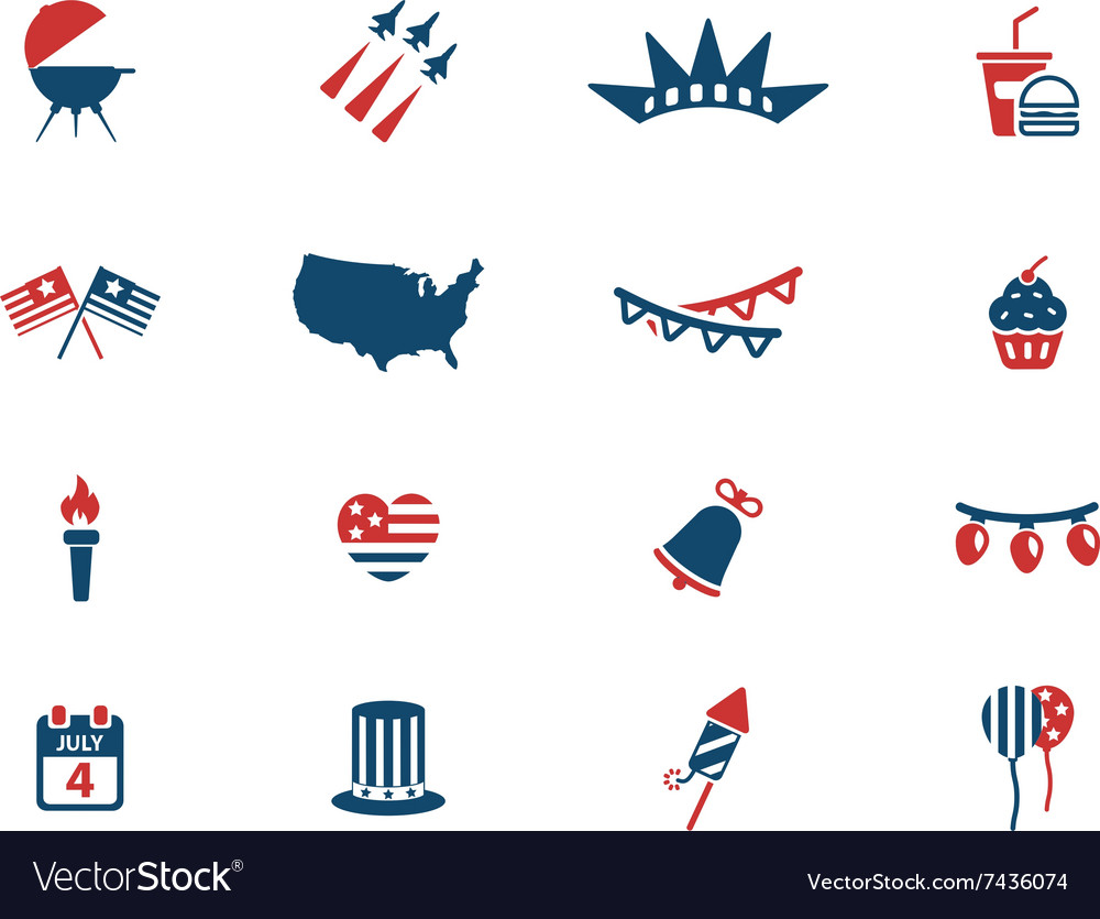 Independence day simply icons vector