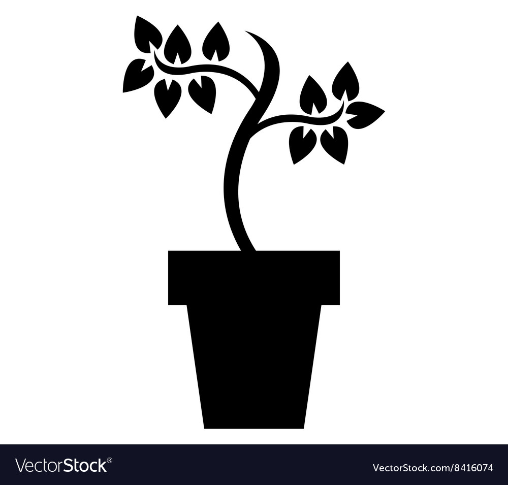 Pot with plant vector