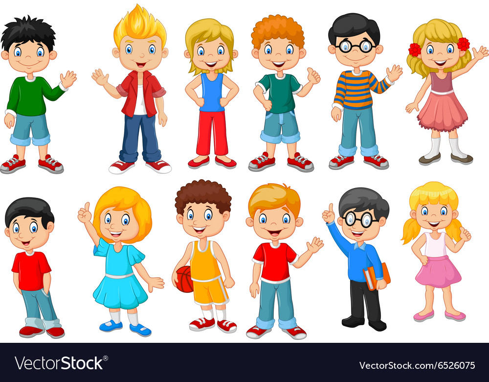 Happy little kids collection set isolated vector