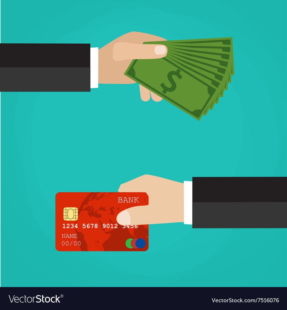 Hand with credit card and hand with cash vector