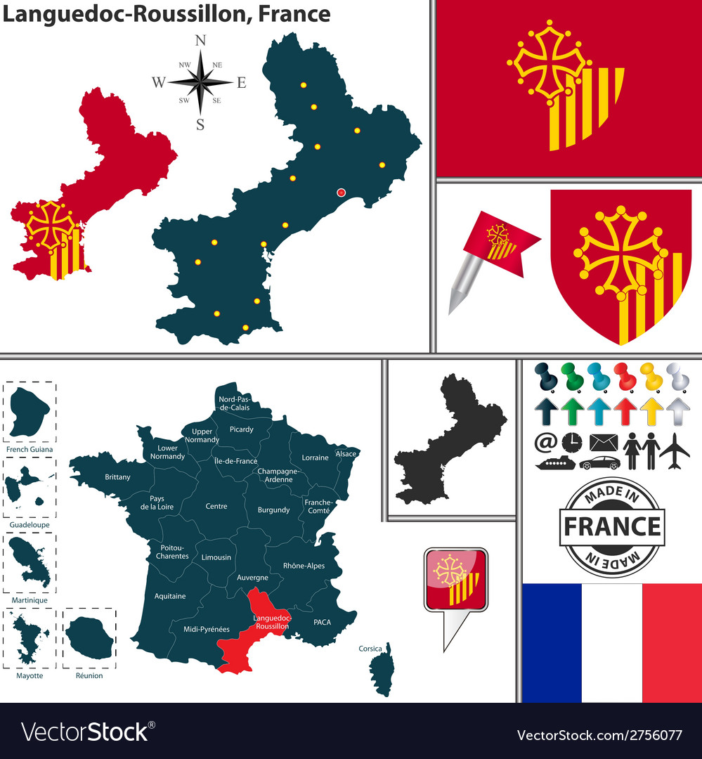 Map of languedoc roussillon vector