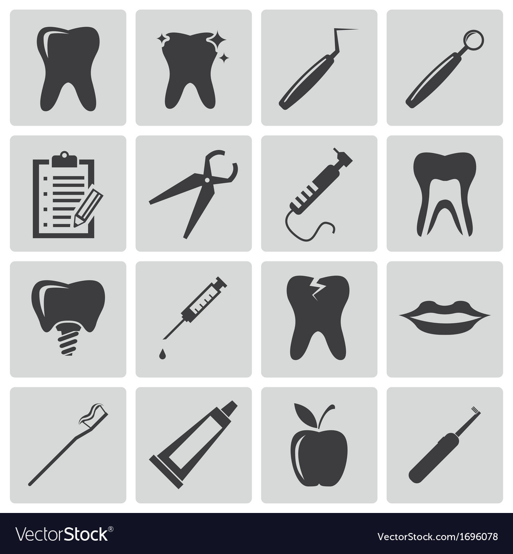 Black dental icons set vector