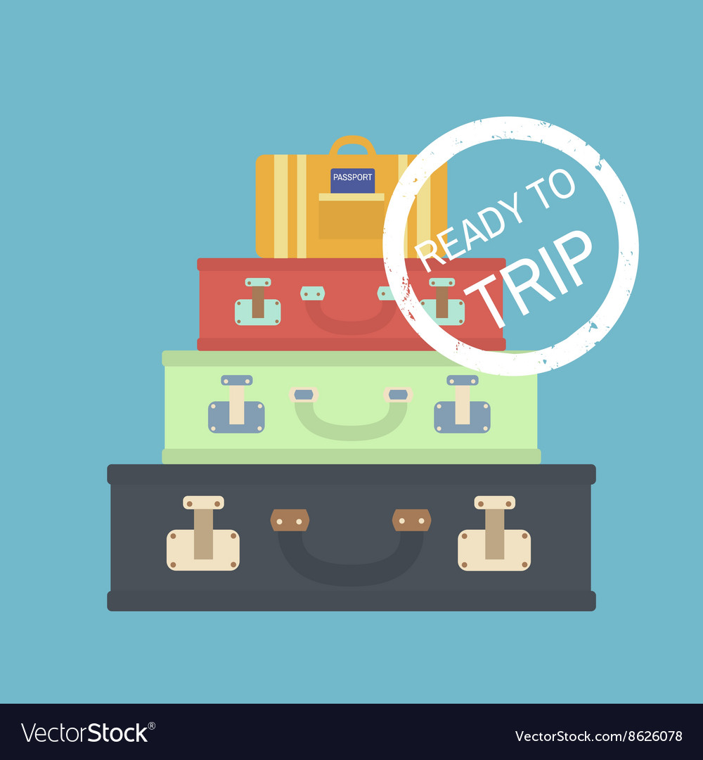 Travel concept with suitcases flat vector