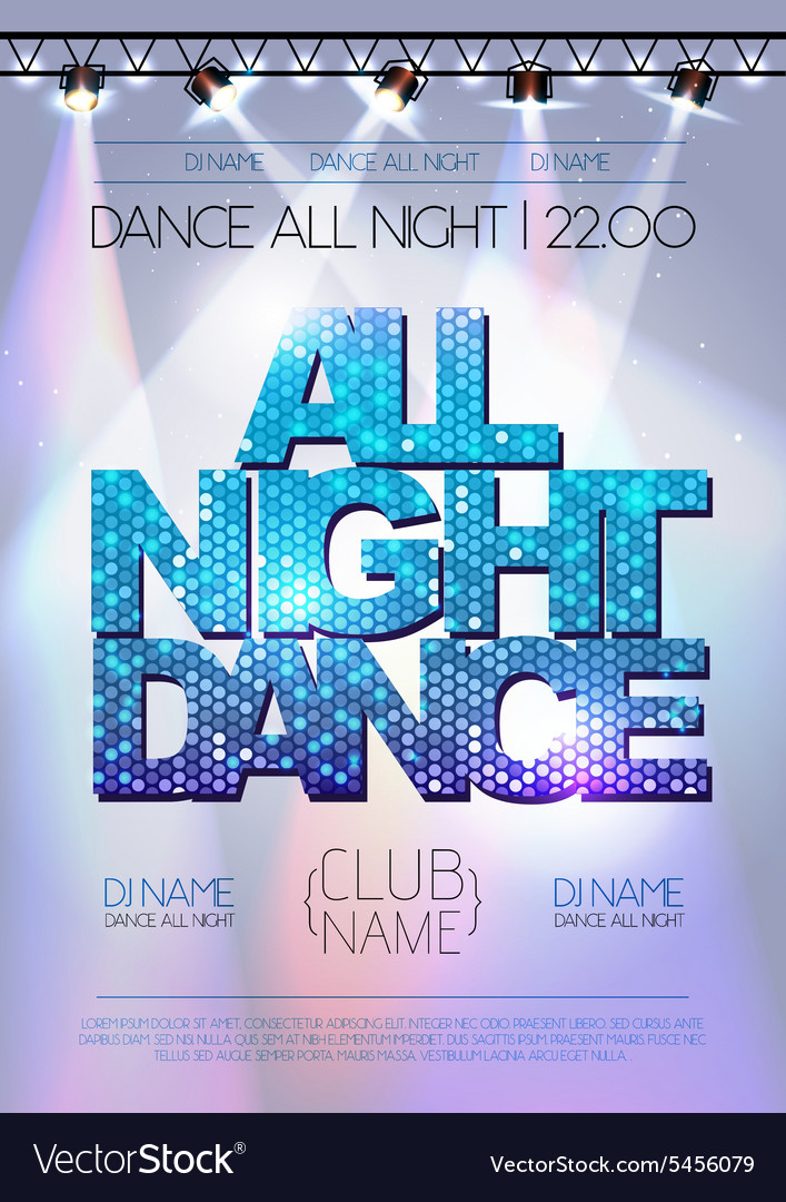 Disco background all night dance poster vector