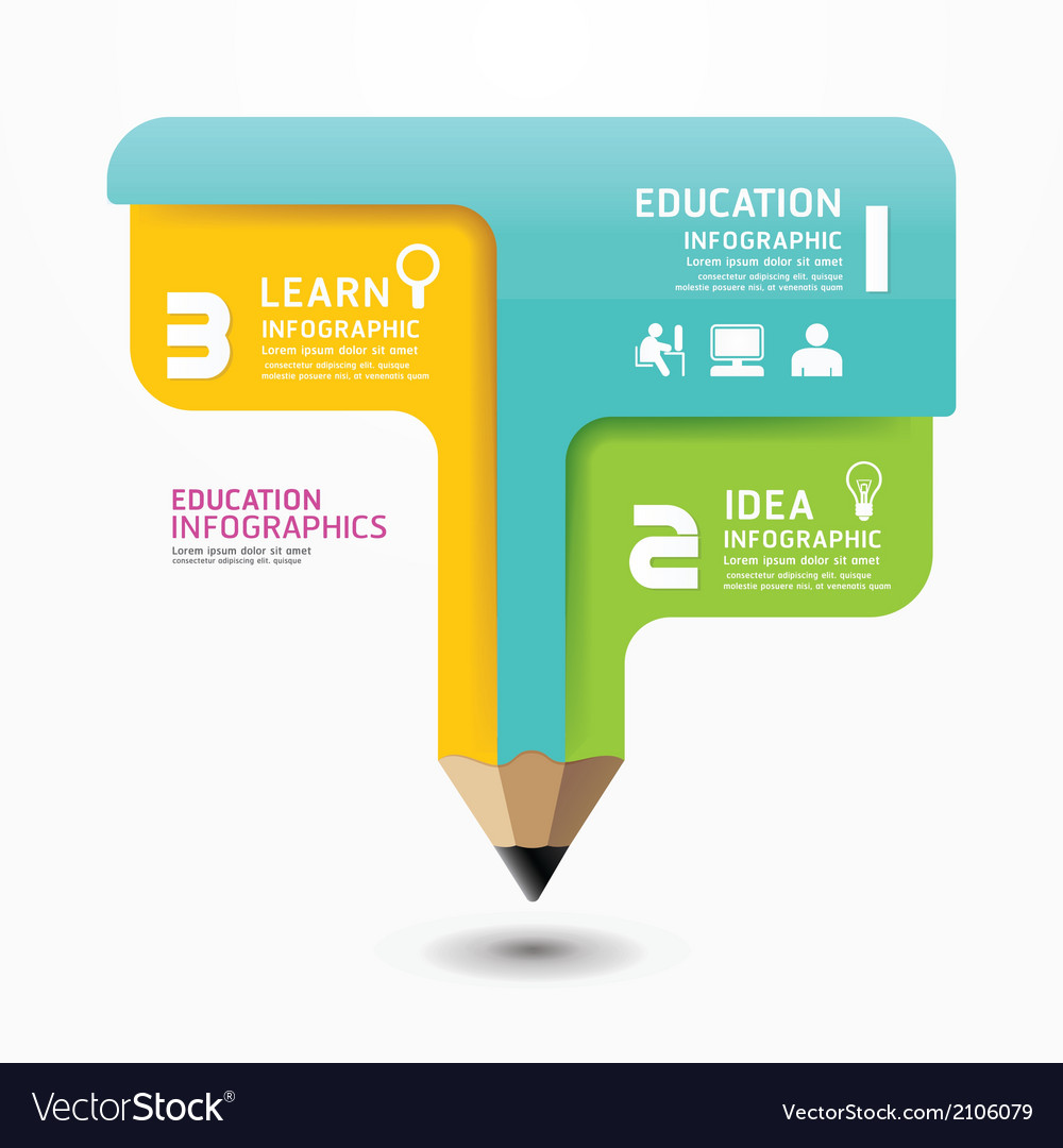 Pencil infographic design minimal style template vector