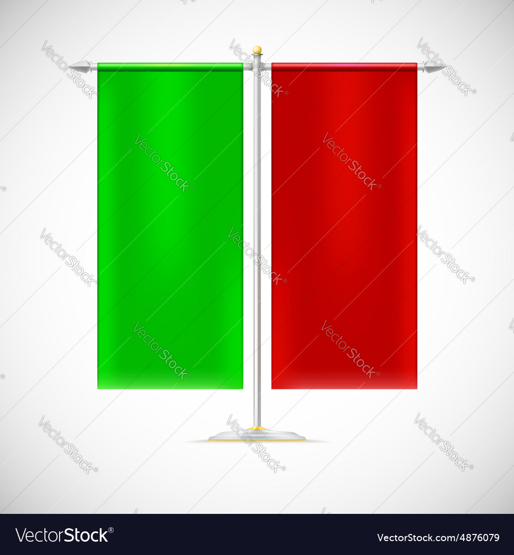 Two red flag on stand vector