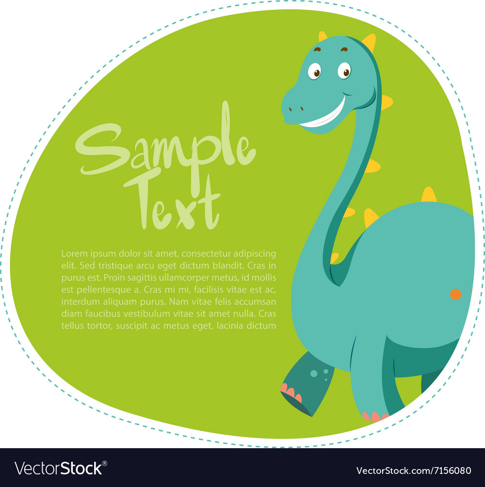 Border design with cute dinosaur vector