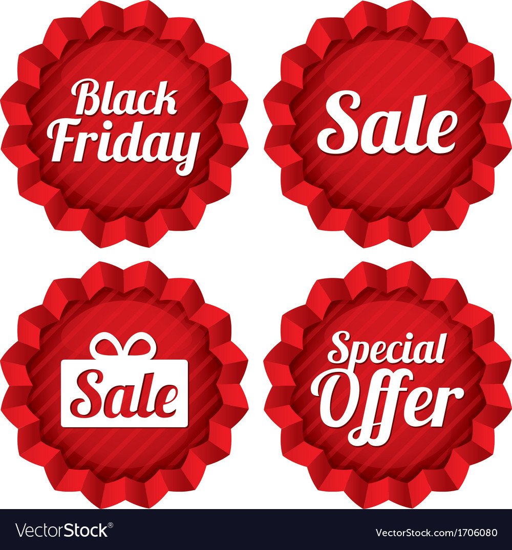 Colorful black friday sale special offer labels vector