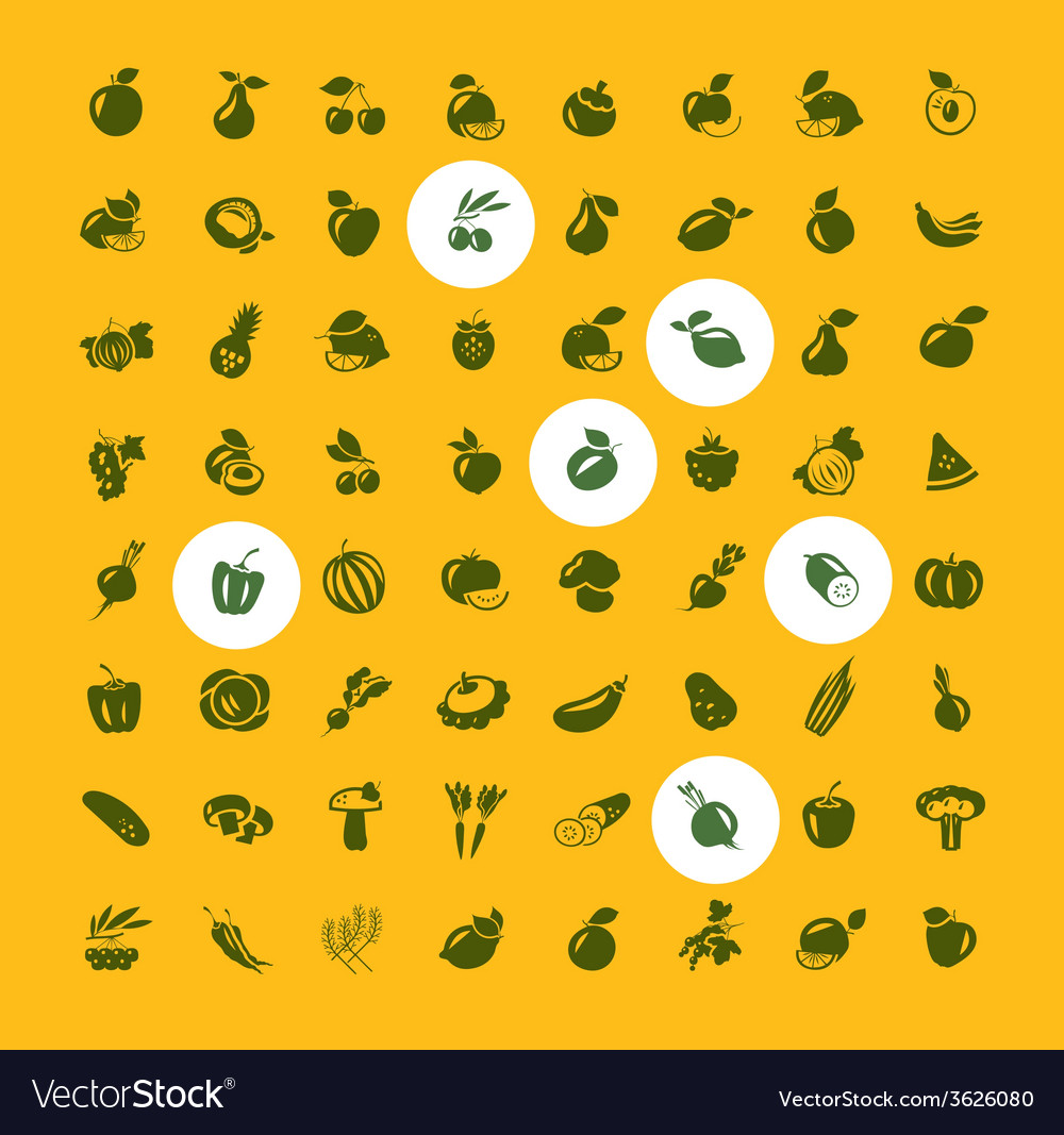 Fruits and vegetables set of icons vector
